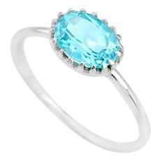 1.98cts solitaire natural blue topaz 925 sterling silver ring size 8 t8981