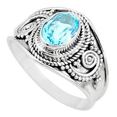 2.08cts solitaire natural blue topaz 925 sterling silver ring size 9 t10162