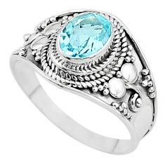 2.17cts solitaire natural blue topaz 925 sterling silver ring size 9 t10176