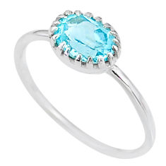 2.23cts solitaire natural blue topaz 925 sterling silver ring size 9 t8907