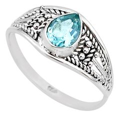 1.57cts natural blue topaz 925 silver graduation handmade ring size 9 t9570