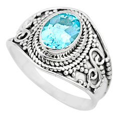 2.08cts solitaire natural blue topaz 925 sterling silver ring size 7.5 t10166