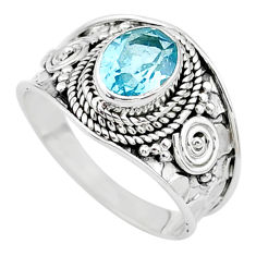 2.10cts solitaire natural blue topaz 925 sterling silver ring size 7.5 t10237