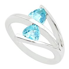 1.70cts solitaire natural blue topaz 925 sterling silver ring size 5.5 t10572