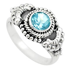 1.16cts solitaire natural blue topaz 925 sterling silver ring size 7.5 t19872