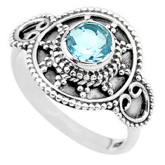 1.21cts solitaire natural blue topaz 925 sterling silver ring size 7.5 t19918