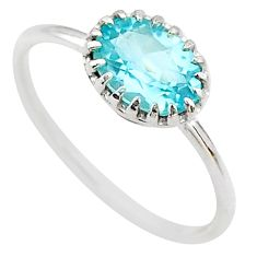 2.13cts solitaire natural blue topaz 925 sterling silver ring size 6.5 t22274