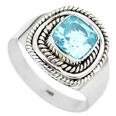 2.71cts solitaire natural blue topaz 925 sterling silver ring size 6.5 t23202