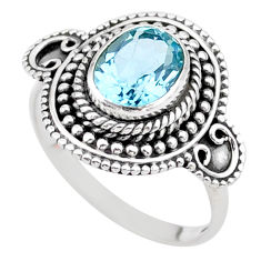 3.28cts solitaire natural blue topaz 925 sterling silver ring size 8.5 t27351