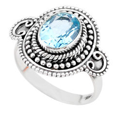 3.41cts solitaire natural blue topaz 925 sterling silver ring size 7.5 t27352