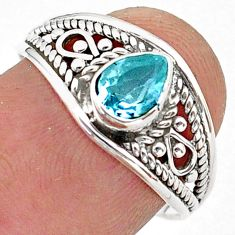 1.59cts solitaire natural blue topaz 925 sterling silver ring size 7.5 t40074