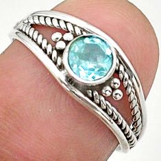 0.81cts solitaire natural blue topaz 925 sterling silver ring size 6.5 t40172