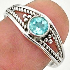 0.82cts solitaire natural blue topaz 925 sterling silver ring size 8.5 t40174