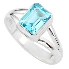 2.14cts solitaire natural blue topaz 925 sterling silver ring size 7.5 t41921