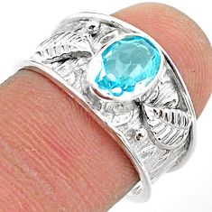 1.88cts solitaire natural blue topaz 925 sterling silver ring size 7.5 t42201