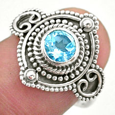1.21cts solitaire natural blue topaz 925 sterling silver ring size 7.5 t46190