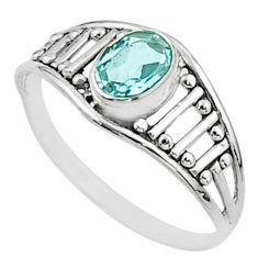 1.74cts solitaire natural blue topaz 925 sterling silver ring size 8.5 t51956