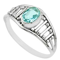 1.58cts solitaire natural blue topaz 925 sterling silver ring size 5.5 t51998