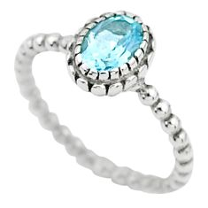 1.47cts solitaire natural blue topaz 925 sterling silver ring size 9.5 t6342