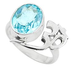 5.10cts solitaire natural blue topaz 925 sterling silver ring size 6.5 t6346