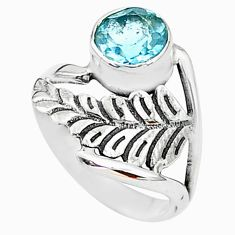 2.42cts solitaire natural blue topaz 925 sterling silver ring size 6.5 t6383