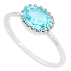 1.91cts solitaire natural blue topaz 925 sterling silver ring size 7.5 t8957