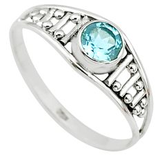 0.75cts natural blue topaz 925 silver graduation handmade ring size 8.5 t9386