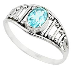1.74cts natural blue topaz 925 silver graduation handmade ring size 8.5 t9444
