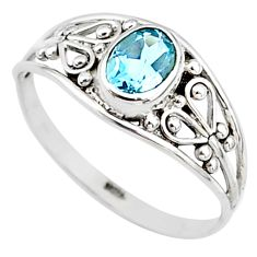 1.30cts natural blue topaz 925 silver graduation handmade ring size 5.5 t9530