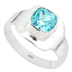 2.28cts solitaire natural blue topaz cushion 925 silver ring size 8 t23217