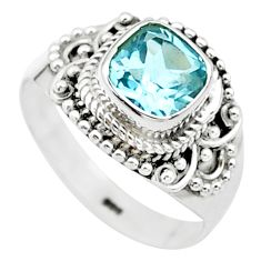 2.53cts solitaire natural blue topaz cushion 925 silver ring size 7.5 t23234