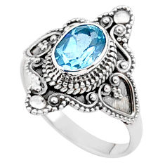 2.09cts solitaire natural blue topaz oval 925 sterling silver ring size 6 t27072