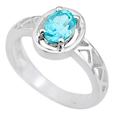 1.46cts solitaire natural blue topaz oval 925 sterling silver ring size 6 t8913