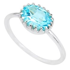2.38cts solitaire natural blue topaz oval 925 sterling silver ring size 6 t8953