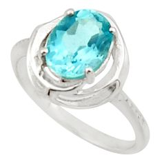 3.51cts solitaire natural blue topaz oval 925 sterling silver ring size 7 r40627