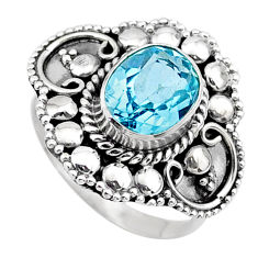 3.06cts solitaire natural blue topaz oval 925 sterling silver ring size 7 t27474