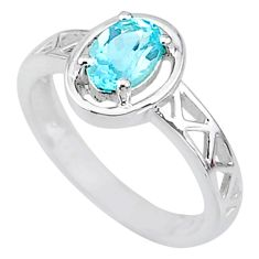 1.47cts solitaire natural blue topaz oval 925 sterling silver ring size 7 t8908