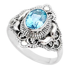 2.14cts solitaire natural blue topaz oval 925 sterling silver ring size 8 t27076