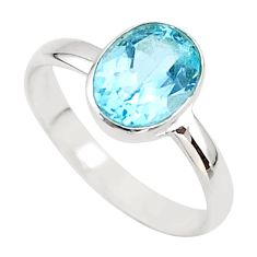 2.98cts solitaire natural blue topaz oval 925 sterling silver ring size 8 t43657