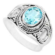2.18cts solitaire natural blue topaz oval sterling silver ring size 7.5 t10170