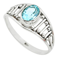 1.43cts natural blue topaz oval silver graduation handmade ring size 8.5 t9431
