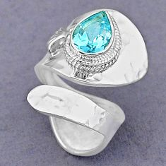 2.56cts solitaire natural blue topaz pear silver adjustable ring size 6 t8487