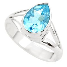 2.53cts solitaire natural blue topaz pear sterling silver ring size 7.5 t41930