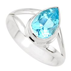 2.81cts solitaire natural blue topaz pear sterling silver ring size 8.5 t41947