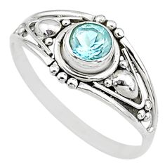 0.90cts natural blue topaz round silver graduation handmade ring size 6 t9695