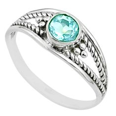 0.91cts solitaire natural blue topaz round shape 925 silver ring size 6 t51986