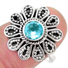 1.23cts solitaire natural blue topaz round silver flower ring size 8.5 t46109