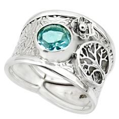 2.63cts solitaire natural blue topaz silver tree of life ring size 7.5 r49848