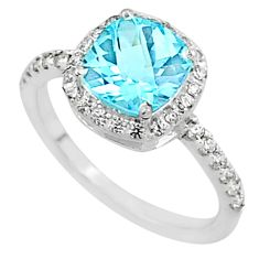 5.18cts solitaire natural blue topaz topaz 925 sterling silver ring size 8 t7333