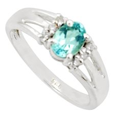 1.94cts solitaire natural blue topaz white topaz 925 silver ring size 9 r40789